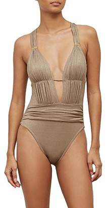 Kenneth Cole New York Women's Lurex Solid Push up Plunge One Piece Swimsuit