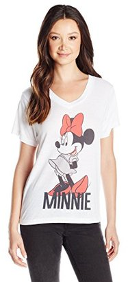 Disney Juniors Minnie Cotton Polyester Blend Burnout Vneck Graphic Tee $17.50 thestylecure.com