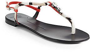 Giuseppe Zanotti Pony Printed T-Strap Sandals