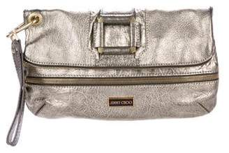 Jimmy Choo Large Metallic Leather Flap Clutch