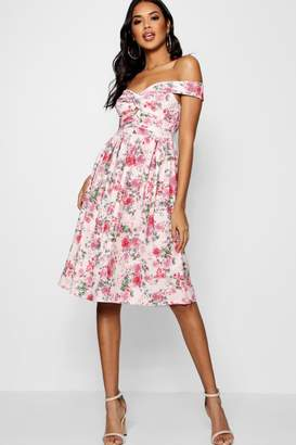 boohoo Floral Bardot Knot Midi Skater Dress