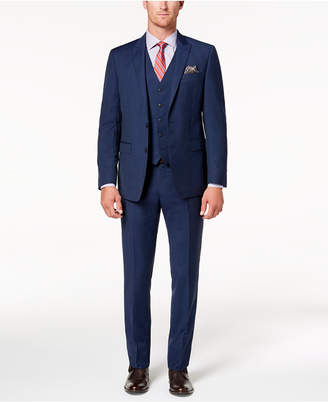 Tallia Men Slim-Fit Stretch Navy Stripe Vested Suit