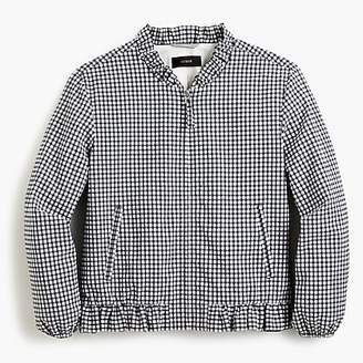 J.Crew Ruffle-neck bomber jacket in gingham