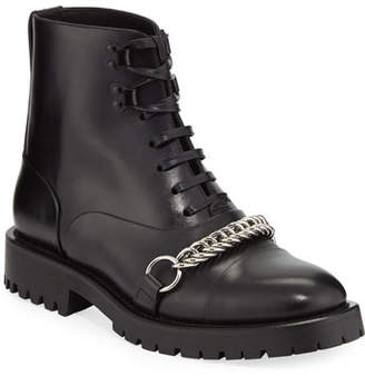 Burberry Barke Lace-Up Booties with Chain