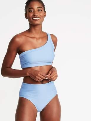 Old Navy Textured-Stripe One-Shoulder Swim Top for Women