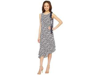 Taylor Asymmetrical Daisy Print Crepe w/ Chiffon Maxi Women's Dress