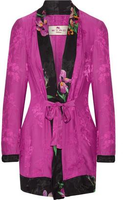 Etro - Belted Satin-jacquard Jacket - Fuchsia $1,670 thestylecure.com
