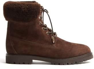 Aquazzura Heilbrunner shearling-trimmed suede ankle boots
