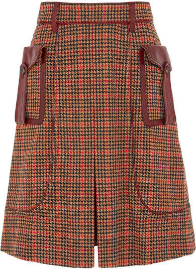 Prada - Leather-trimmed Checked Wool-blend Tweed Skirt - Orange