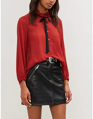 Claudie Pierlot Ruffled-collar chiffon shirt