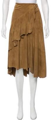 Ralph Lauren Suede Ruffle-Trimmed Skirt