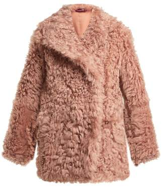 Sies Marjan Pippa Double Breasted Shearling Coat - Womens - Pink