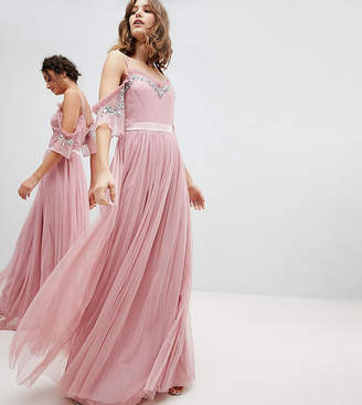 Maya Cold Shoulder Sequin Detail Tulle Maxi Dress With Ruffle Detail