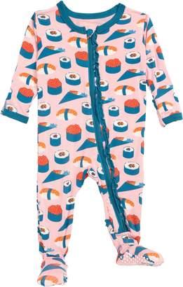 Kickee Pants Sushi Print Muffin Ruffle Footie