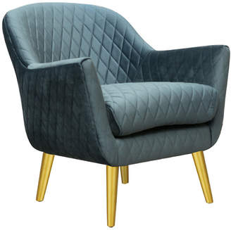 Park Avenue Quilted Velvet Club Chair with Gold Legs