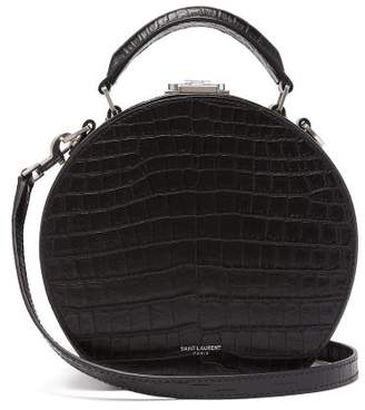 Saint Laurent Mica Small Crocodile Effect Leather Cross Body Bag - Womens - Black