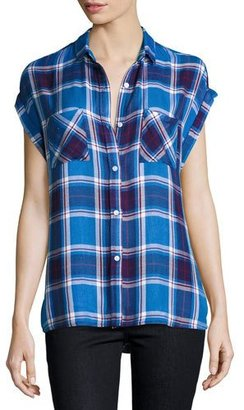 Rails Britt Plaid Cap-Sleeve Shirt, Santorini/Royal $132 thestylecure.com