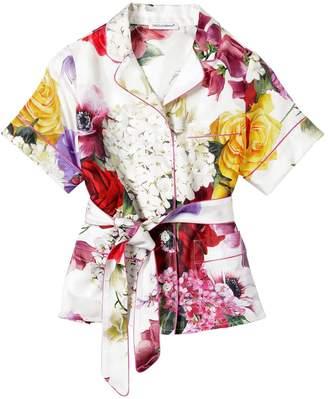 Dolce & Gabbana Floral Print Twill Satin Shirt