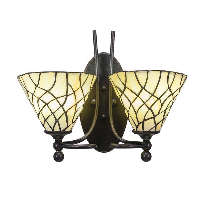 Cambridge Silversmiths Cambridge 2-Light Dark Granite Sconce with Sandhill Tiffany-Style Glass