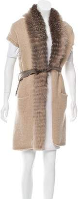 Fabiana Filippi Fur-Trimmed Belted Vest