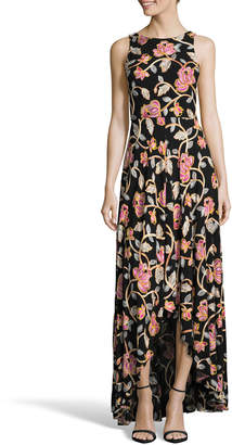 Nicole Miller New York Sleeveless High-Low Floral Maxi Dress w/ Back Cutout