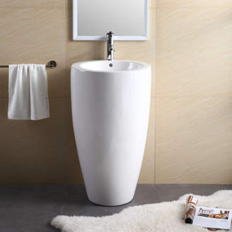 """Fine Fixtures Vitreous China 20"""" Pedestal Bathroom Sink with Overflow"""