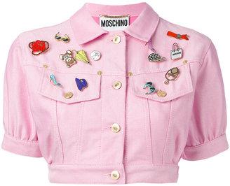 Moschino Vintage cropped denim badge jacket