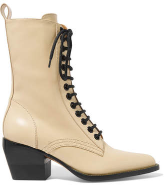 Chloé Rylee Glossed-leather Ankle Boots - Cream