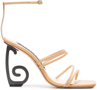 Beige Espiral 105 leather sandals