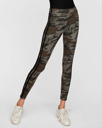 Express High Waisted Side Stripe Camo Supersoft Leggings