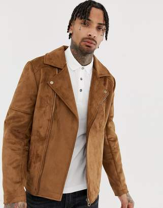Design DESIGN faux suede biker jacket in tan