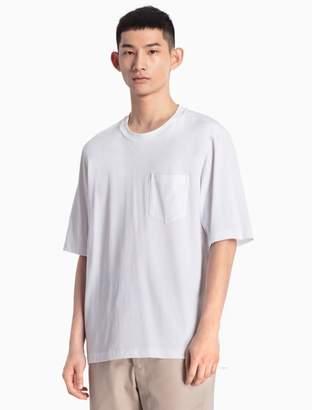 Calvin Klein mixed media cotton knit t-shirt