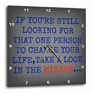 3dRose take a look in the mirror, blue lettering on a silver metal background, Wall Clock, 13 by 13-inch