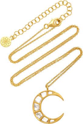 Amrapali Kundan Vintage Diamond And 18K Gold Crescent Pendant Necklace