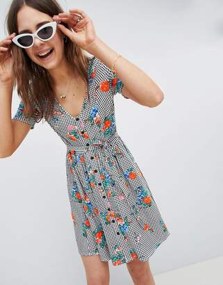 Asos DESIGN floral print gingham button through sundress
