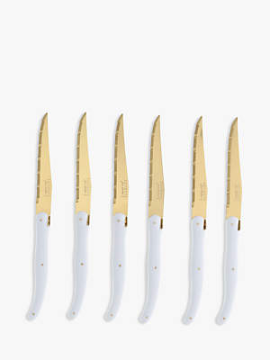 Jean Dubost Le Thiers Laguiole by Gold and White Steak Knives, 6 Piece