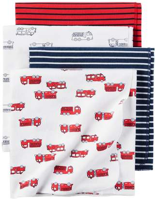 Carter's Baby 4-pack Fire Truck Flannel Receiving Blankets