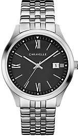 Caravelle Men's Stainless Steel Black Dial Bracelet Watch