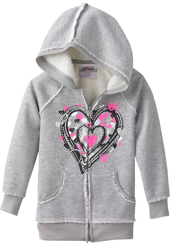 Knitworks heart sherpa hoodie - girls 4-6x
