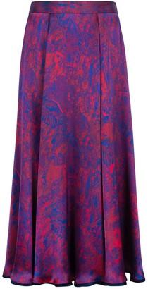 Isabel Manns Reversible Emma Silk Satin Skirt In Fire Ocean