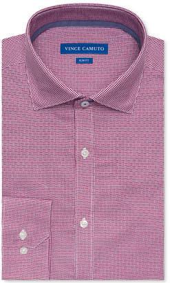 Vince Camuto Men's Slim-Fit Comfort Stretch Burgundy Basket Dobby Dress Shirt