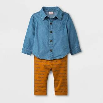 Cat & Jack Baby Boys' 2pc Long Sleeve Denim Top and Twill Pants Blue/Brown 18M