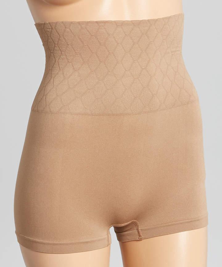 Dark Taupe Seamless High-Waist Shaper Shorts - Women