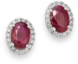 Bloomingdale's Ruby & Diamond Stud Earrings in 14K White Gold - 100% Exclusive