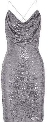 Badgley Mischka Draped Sequined Tulle Dress