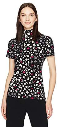 Anne Klein Women's Short Sleeve Mock Neck Top