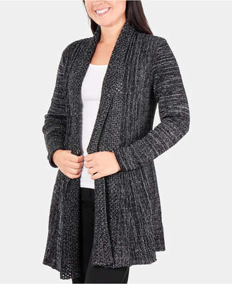 NY Collection Metallic Multi-Textured Shawl Collar Cardigan