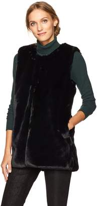 Vince Camuto Women's Collarless Faux Fur Vest With Pockets