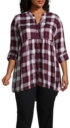 Boutique + + 3/4 Sleeve Button-Front Plaid Babydoll - Plus