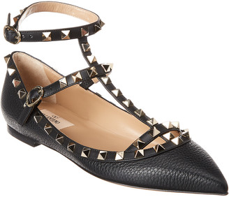 Valentino Rockstud Caged Grain Leather Ballerina Flat